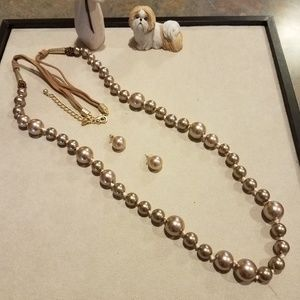 "Chico's 48"" champagne color pearls and earring"
